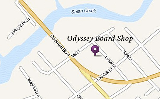 Map detail to Odyssey Board Shop.