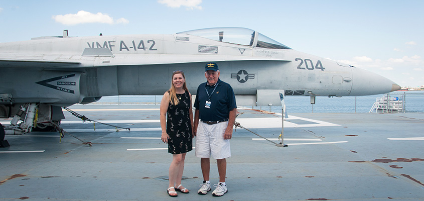 RADM Flatley gave me a quick tour of the flight deck of the Yorktown. He has flown all the aircraft currently displayed on deck, including the F-18 we are standing in front of.