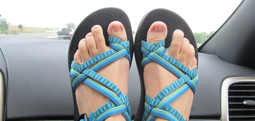 Brand new Chacos...not the best for climbing down a mountain. All Rights Reserved.