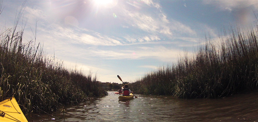 Kayaking through Bald Head Islands tidal creeks. © 2014 Audra L. Gibson. All Rights reserved.