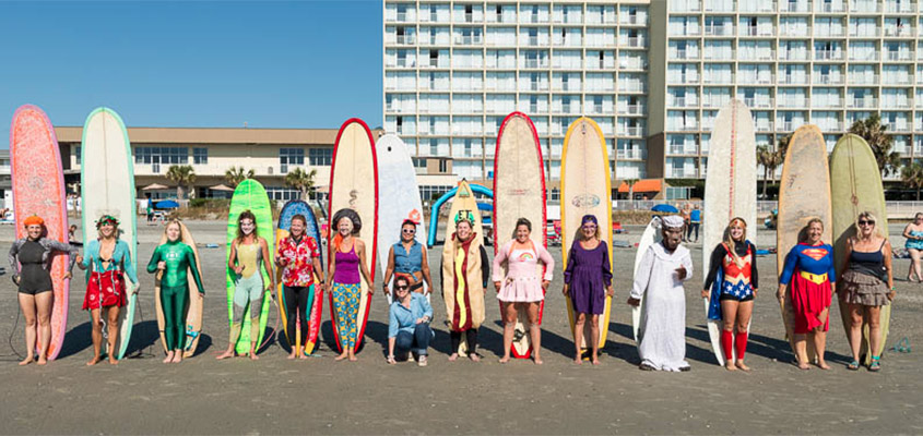 Folly Beach Wahine Halloween Surfing Event. Yes. It is hard to surf in a hot dog costume. No. It is not what caused my surfing injury. Photo: © 2016 Michael Johnson.
