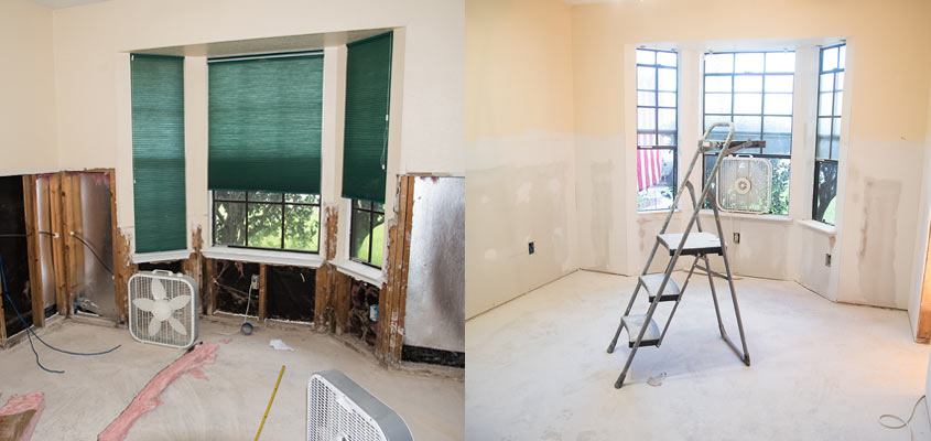 Before and After Hurricane Harvey Drywall Repair. © 2017 Audra L. Gibson. All Rights Reserved.