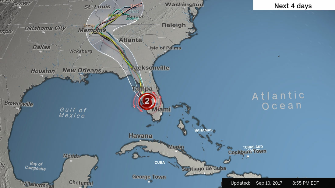Hurricane Irma Tracking Sept 10th. Image courtesy of CNN. All Rights Reserved.