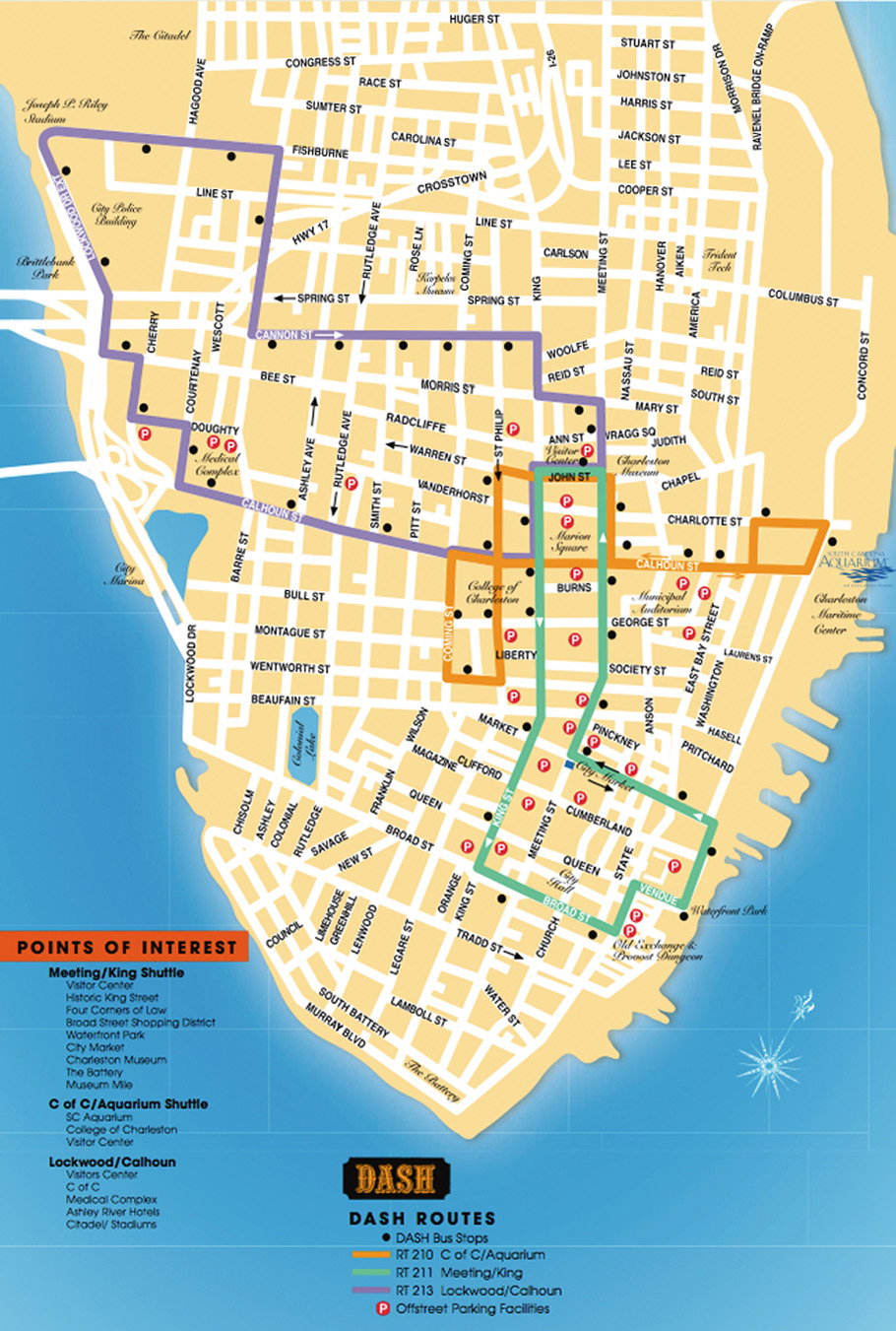 Detailed map of the Charleston DASH Trolley routes.