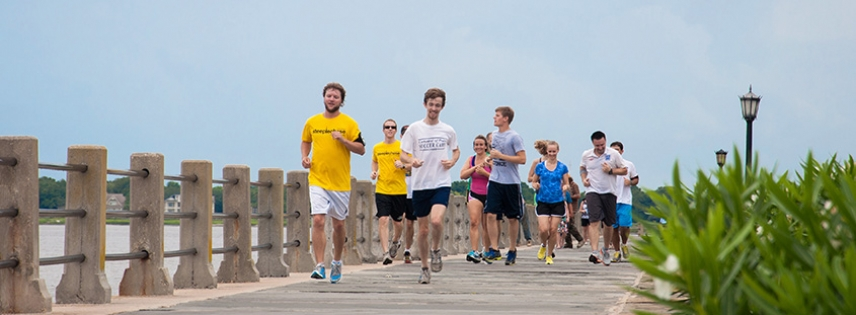 Steeplechase runners enjoy a view of the battery while learning about the historic district.