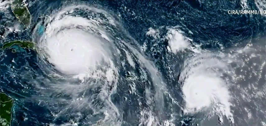 Satellite Imagery of Hurricane Irma with Hurricane Jose tracking behind it.